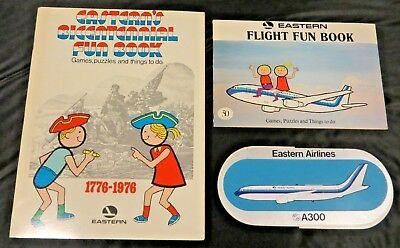 (2) EASTERN AIRLINES Children's FUN BOOK giveaway Unused + A300 STICKER
