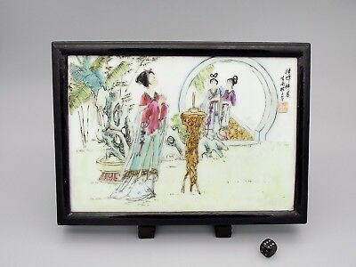 Very Fine Chinese Republic Period Porcelain Plaque Signed ca1940