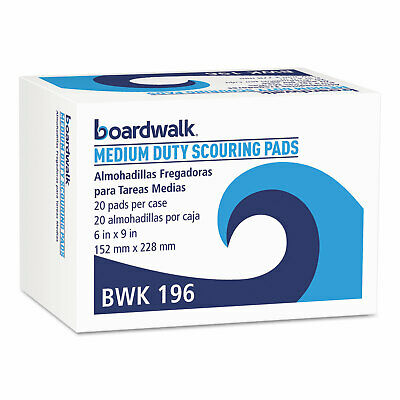 Boardwalk® Medium Duty Scour Pad Green 6 x 9 20/Carton 196
