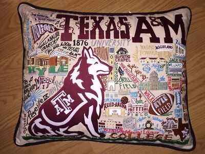 Catstudio Pillow Texas A&M Embroidered 16 by 20 NWT!