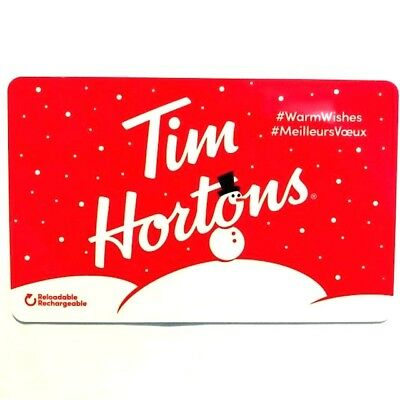 Tim Hortons Gift Card Falling Snow Snowman Coffee Tea Canada Sleeve New