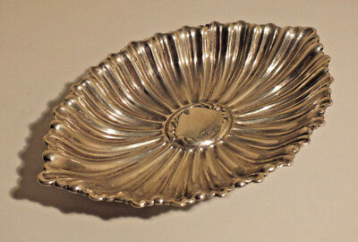 Rare Antique Victorian Solid Silver Pin Dish - Shell / Floral Shape - 1900