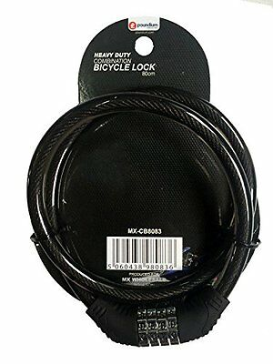 Heavy Duty Bike Combination Lock Black Cycle Spiral Cable Chain 80cm 4 Digit