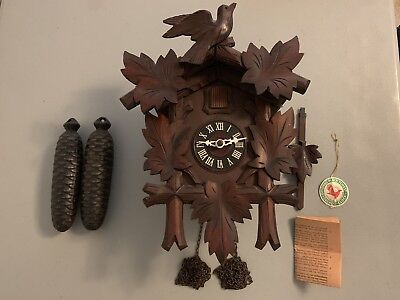 Vintage Hubert Herr Black Forest Cuckoo Clock With Instructions Tested Working