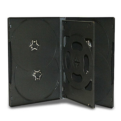 25 Black 14mm Multi Six Disc (Hold 6 Discs) CD DVD Storage Box Case with Tray