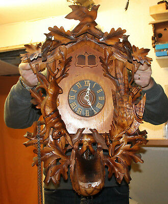 Old Big Cuckoo Wall Clock Black Forest Carillon 2 Melodies Large Clock