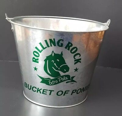 Rolling Rock Beer Pail Bucket Of Rocks Bucket of Ponies Galvanized