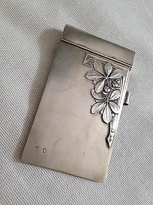Antique Russian sterling SILVER 875 ART DECO NOTE PAD HOLDER cover ENGRAVED, 20s