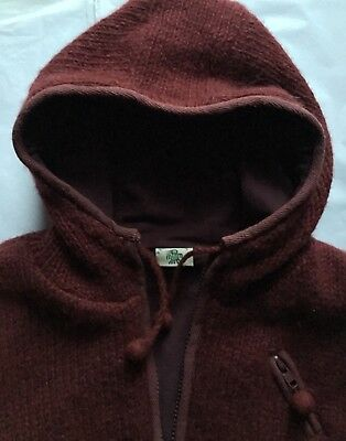 Pachamama Handknitted Hooded Jacket, L/XL,Wool, Wine, Pockets, Fleece Lined,