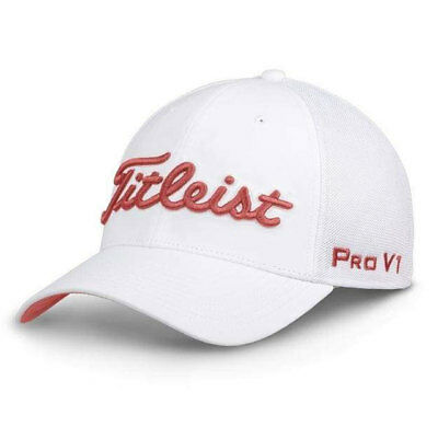 Titleist Golf Tour Sports Mesh Fitted Hat Cap Size: M/L White / Island Red 19578