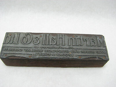 Martin Hall & Co Ltd metal logo on wood stamp, late 19th / early 20th century