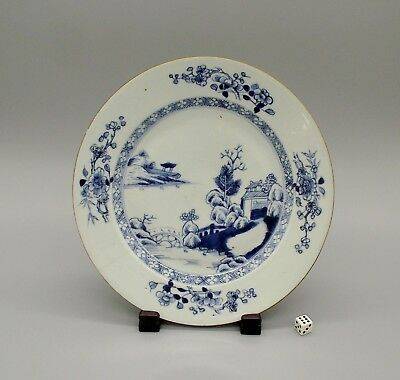 Antique 18thC Chinese Blue & White Porcelain Plate Qianlong Period ca1775