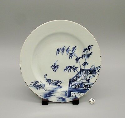 Antique 18thC Chinese Blue & White Porcelain Plate Ducks & Pagoda Pattern