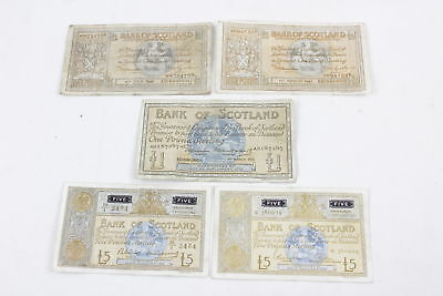 5 x Vintage BANK OF SCOTLAND Five Pound & One Pound Notes Inc 1940's Circulated