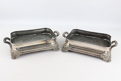 2 x Antique Sheffield SILVER PLATED Entree Dishes w/ Scroll Decoration (5537g)