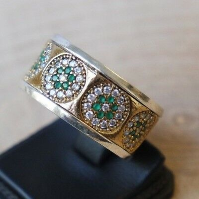 Turkish Handmade Sterling Silver 925 Jewelry Emerald Ladies Ring 8.5