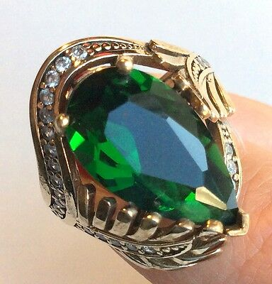 Turkish Handmade  Jewelry Sterling Silver Ottoman 925 Emerald Ring 6 7 8 9