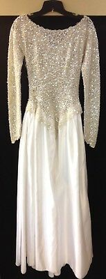 vintage beaded sequin embroidered intricate detailed lace white gown dress sz 6