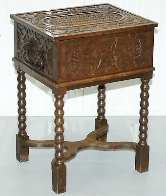Rare 17Th Century Heavily Carved Box & Stand Danish Inscription, Marriage Chest