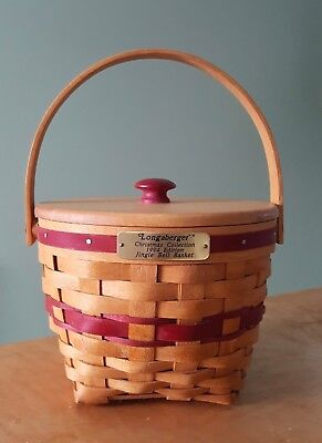 Longaberger 1994 X-Mas Collection Red Jingle Bell Basket w/Lid & Plastic Liner