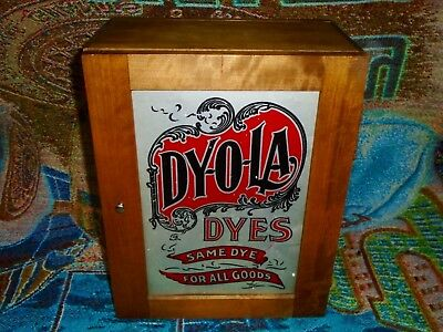Vintage Dyola (DY-O-LA) Dyes Wooden Store Display Cabinet