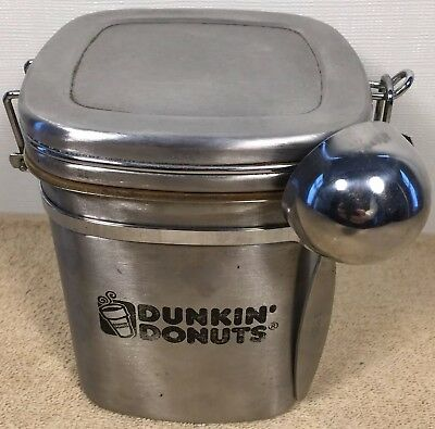 Dunkin Donuts Ground Coffee Metal Storage Canister Holder w/ 2 Tablespoon Scoop