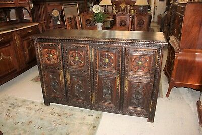 French Antique Carved Oak Wood Brittany Sideboard Buffet | 4 Door Bar Cabinet