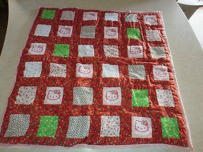 """Crib Blanket Handmade Quilt 32 X 31 1/2"""" Patchwork With Hello kitty Cotton New"""