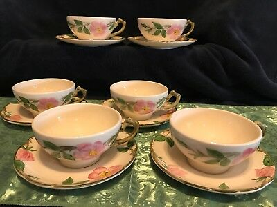 6 Franciscan Desert Rose Coffee/Tea Cup and Saucer Sets - California- Vintage