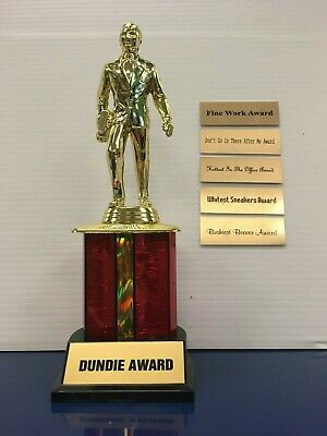 Dundie Trophy Award w/ 6 plates The Office TV Dunder Mifflin Dundee 10 1/2""