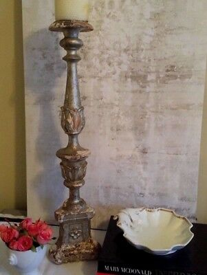 Antique French Architectural Wood Salvage Fragment Silver Leaf Candlestick