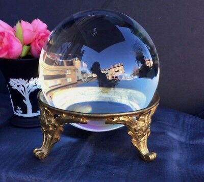 Antique French Ormolu Bronze 18th Century Stand With Old Crystal Orb Sphere