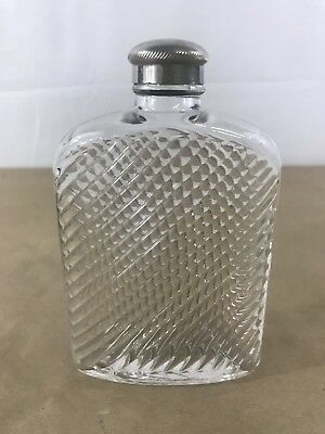 G23 Vintage Universal Glass Hip Flask, Swirl Pattern, Art Deco, Original Lid