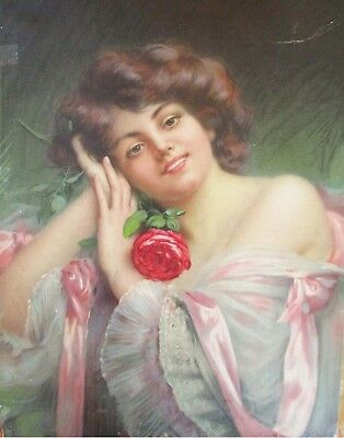 Huge Antique Lithographed Dress Box With Beautiful Woman Signed