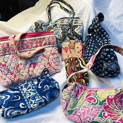 Large Bundle Of vera bradley Handbags And Wallets Total 7items