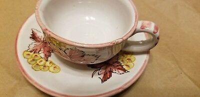 Vintage Made in Italy Olive Design Art Pottery Coffee Cup and Saucer