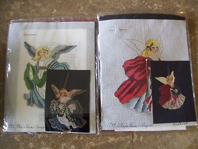 Lot of 2 Stitchin' Stuff Thomasson CHRISTMAS ANGEL 1988 & 1989 Needlepoint Kits