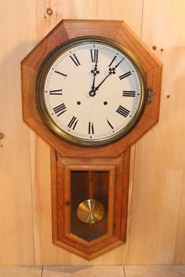 Large Solid Oak Schoolhouse Clock ~ Serviced & Running ~