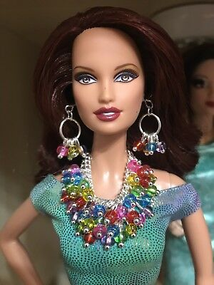 Shades of Turquoise Beads Necklace and Earrings Handmade Jewelry for Barbie
