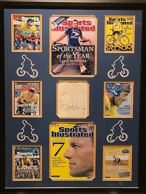 Lance Armstrong Signed Cut With Mini Photos Collage Custom Frame