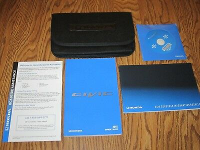 2015 HONDA CIVIC OWNERS MANUAL w/supplemental books, CD and a soft case