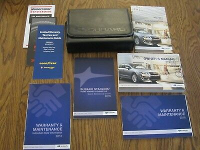 2016 SUBARU IMPREZA OWNERS MANUAL w/supplemental books, and a leather case