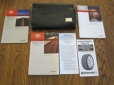 2013 TOYOTA COROLLA OWNERS MANUAL w/supplemental books, and a leather case