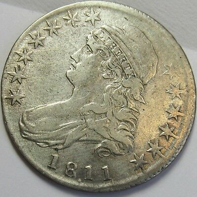 1811/10 Bust Half Dollar: O-102, Off-center, Very Late Die State, Very Fine