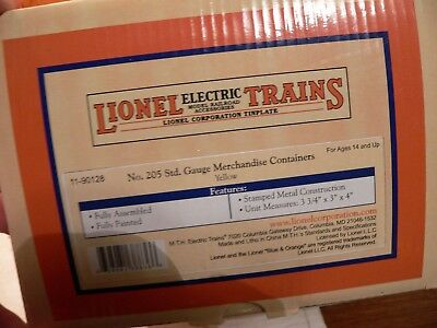MTH 11-90128 Lionel 205 LCL yellow Containers 3 pc set, for Standard gauge