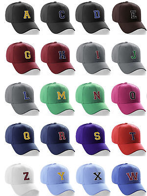 Classic Baseball Cap Custom Black Hat White Gold A to Z Initial Raised  Letters dda6ac1cf251