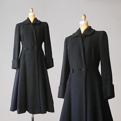 1940s Princess Coat 50s Vintage Hourglass Black Wool 1950s Medium Large 32 waist