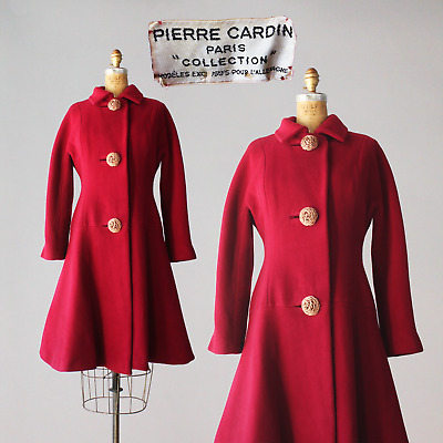 Exceptional 1960s Pierre Cardin Berry Red Wool Coat very Mod 60s and Rare AS IS