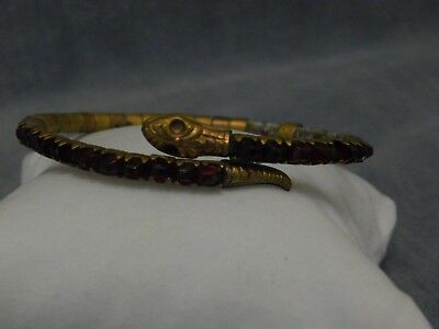 Antique Art Nouveau Egyptian Revival Cobra Snake Coil Bracelet Red Glass Repair