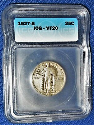 IGC Certified VF 20 Rare Key Date 1927-S Silver Standing Liberty Quarter